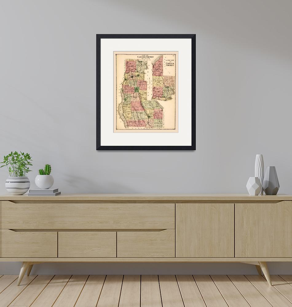 """""""Cayuga County, NY, 1829 historic map restoration""""  (2020) by WilshireImages"""