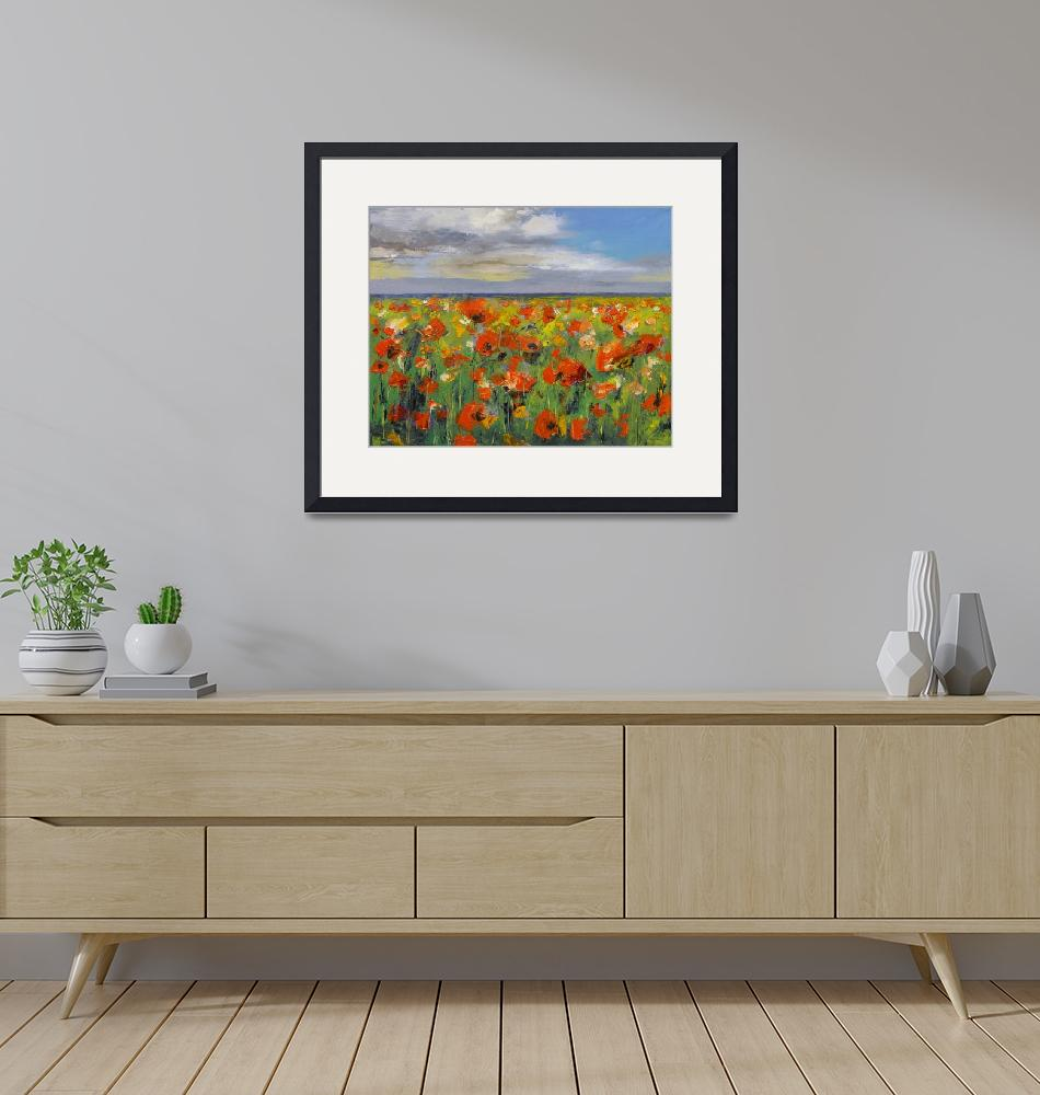 """""""Poppy Field with Storm Clouds""""  by creese"""