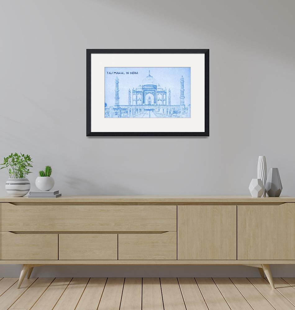 """""""Taj Mahal in India - BluePrint Drawing""""  by motionage"""