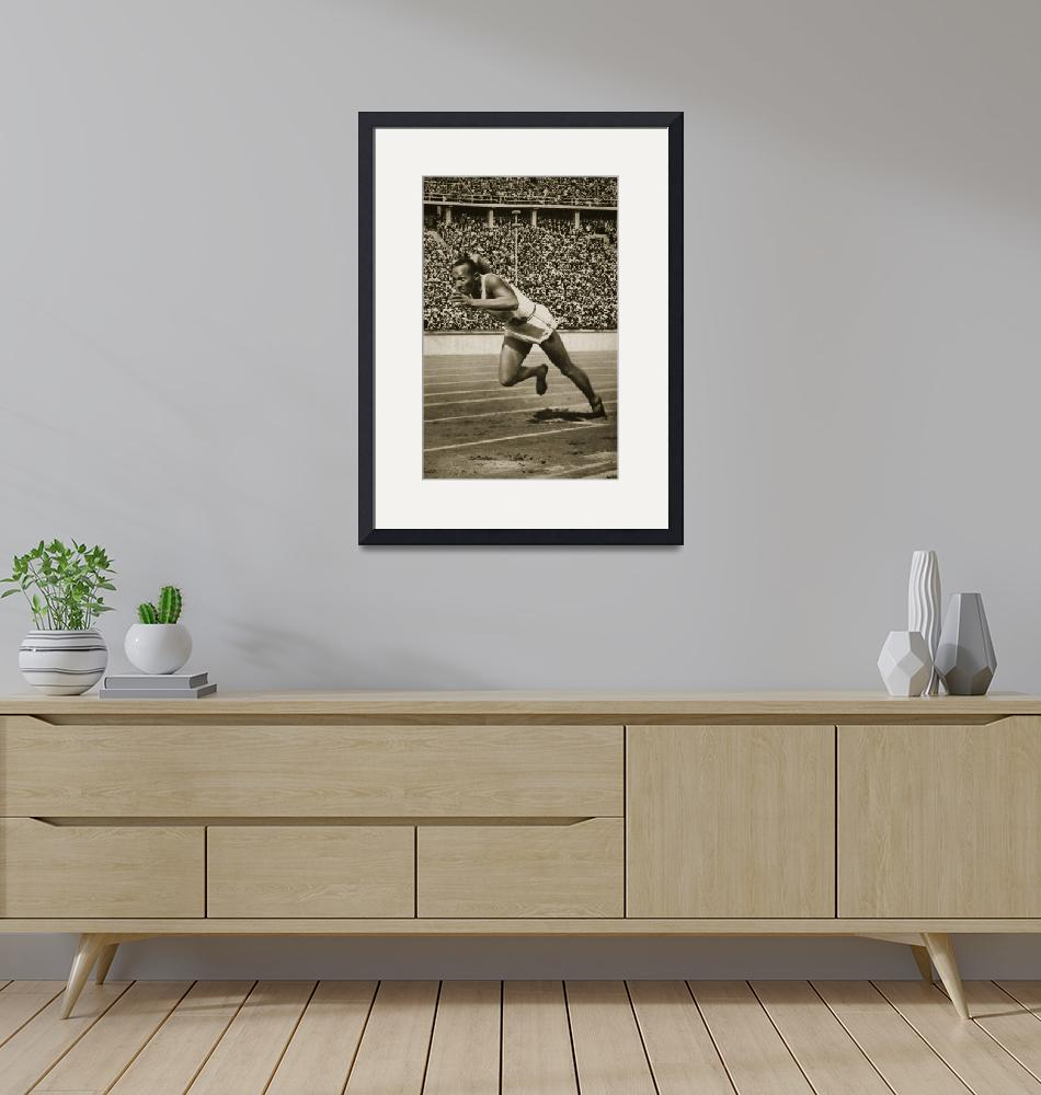 """Jesse Owens at the start of the 200m race at the 1"" by fineartmasters"