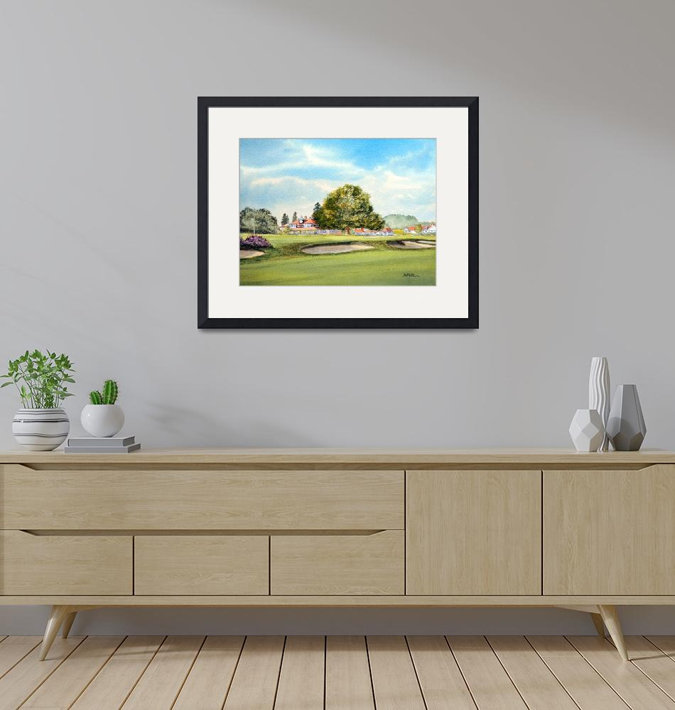 """""""Sunningdale Golf Course 18th Green Painting""""  (2015) by billholkham"""