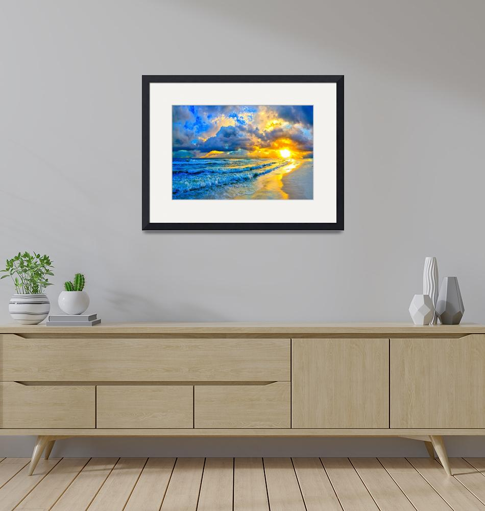 """""""beautiful blue ocean sunset and waves""""  (2015) by eszra"""