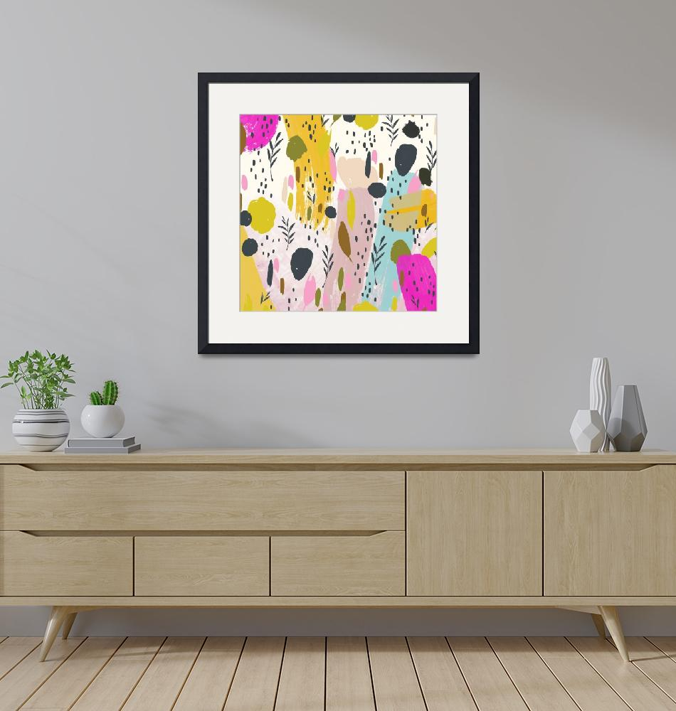 """Pink And Yellow Trendy Modern Abstract Art"" by fineartgallery"