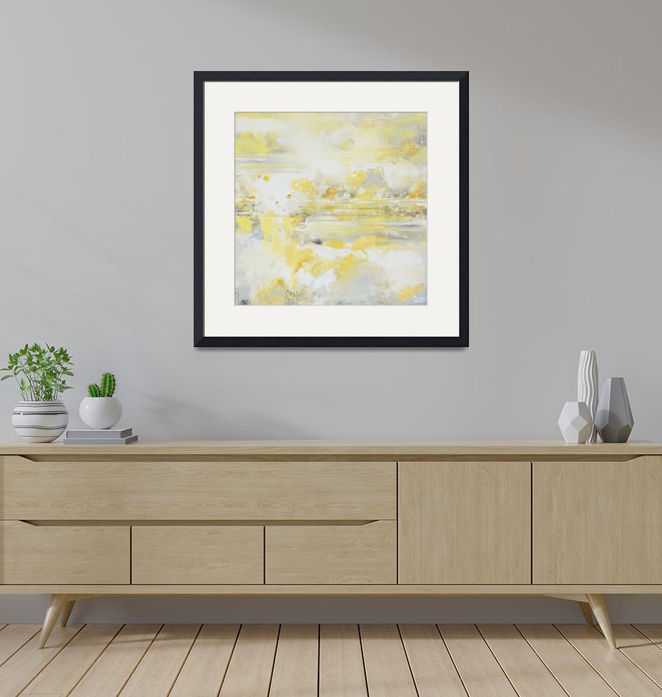 """""Warm Thoughts"" Yellow Grey Abstract""  (2017) by ChristineBell"