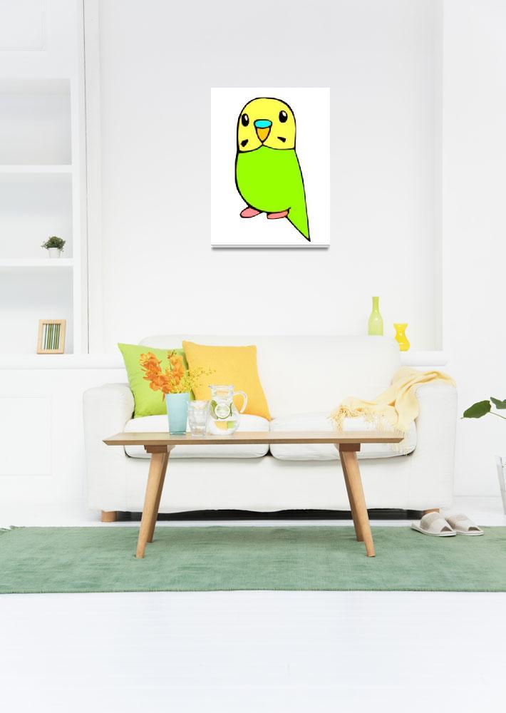 """""""Green Budgie&quot  (2009) by parakeetart"""