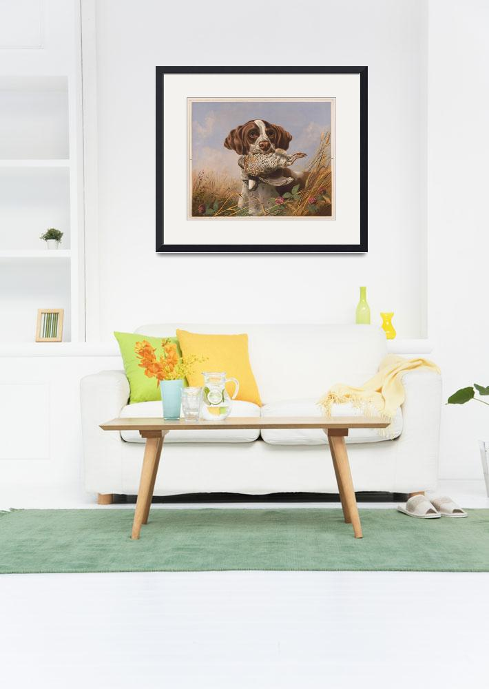 """""""Vintage English Pointer Hunting Quail Painting (18""""  by Alleycatshirts"""
