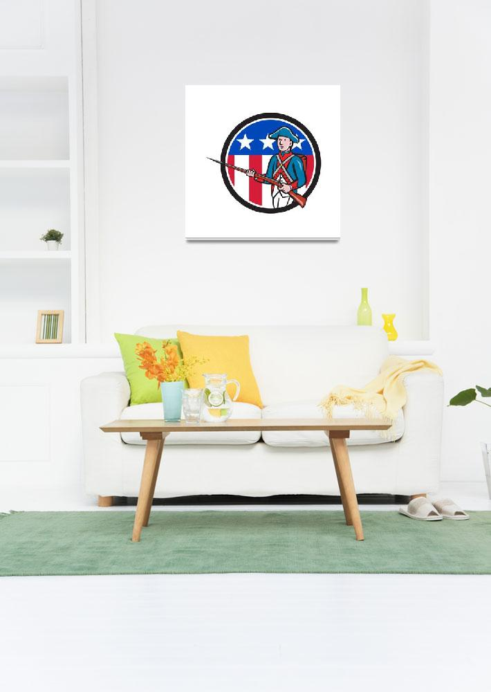 """""""American Soldier Marching Rifle USA Flag Circle Ca&quot  (2016) by patrimonio"""