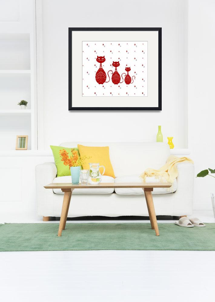 """""""Red Cats Illustration&quot  (2015) by CristinaBianco"""