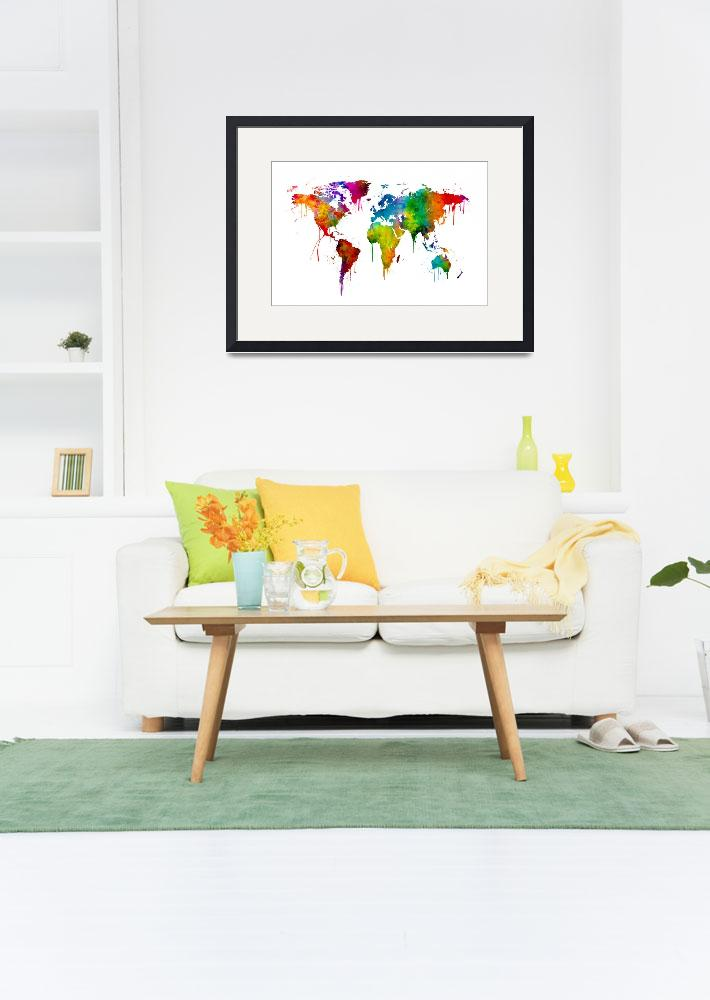 """""""Watercolor Map of the World Map&quot  by ModernArtPrints"""