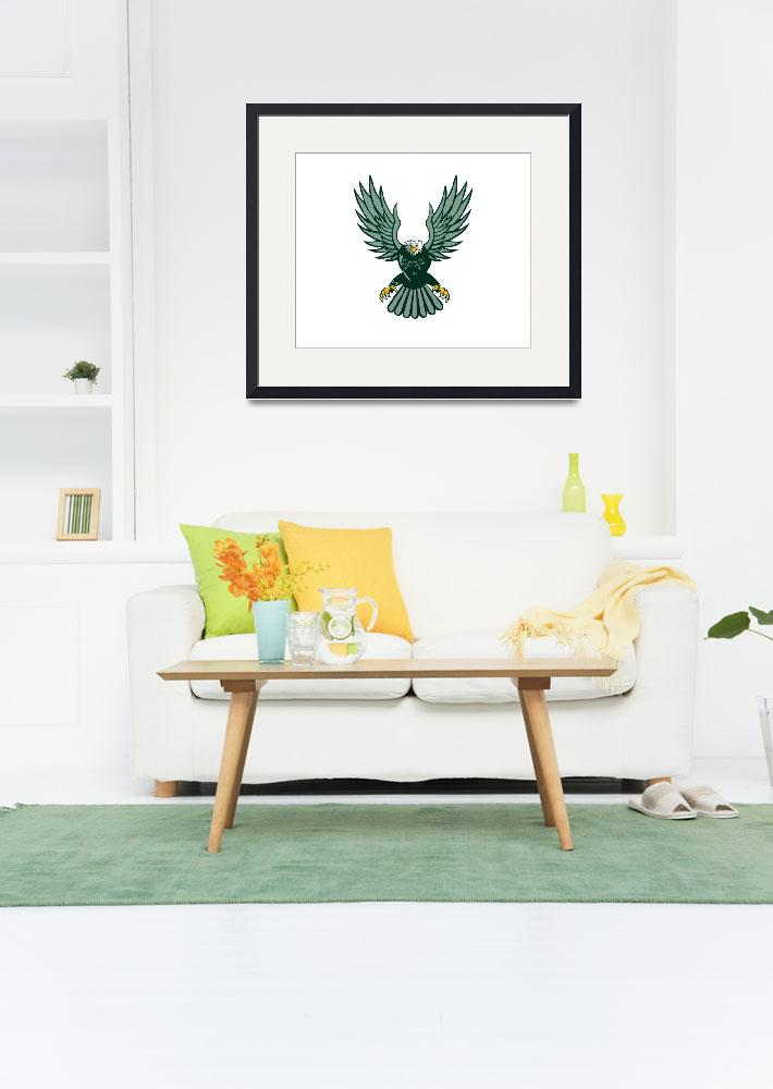 """""""Bald Eagle Swooping Wing Spread Isolated Retro&quot  (2016) by patrimonio"""