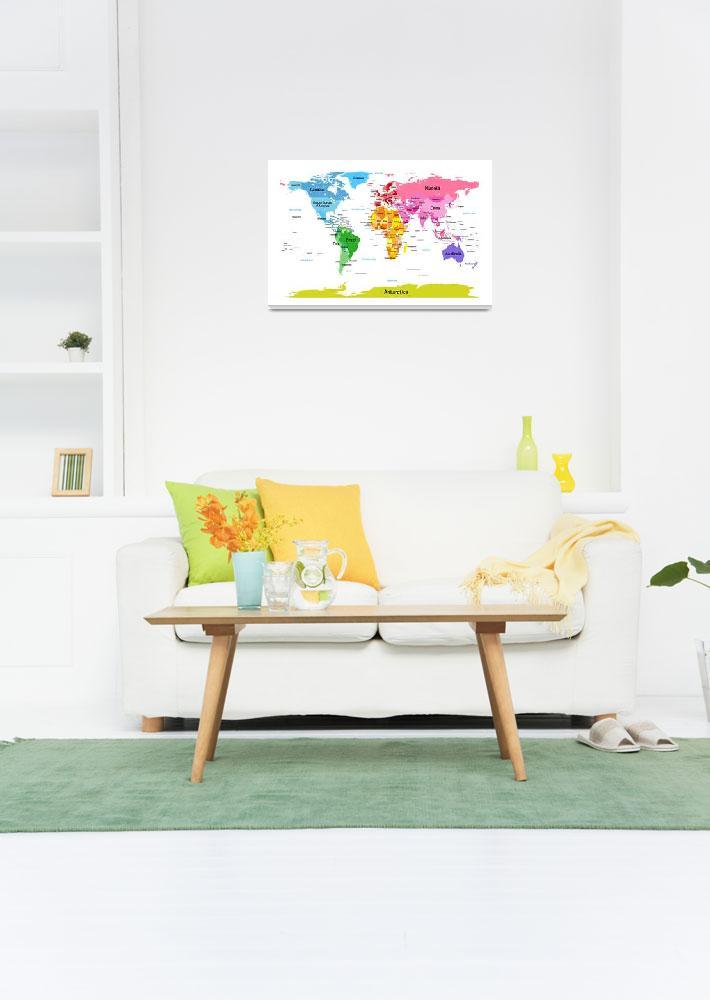 """""""World Map with Big Text""""  (2012) by ModernArtPrints"""