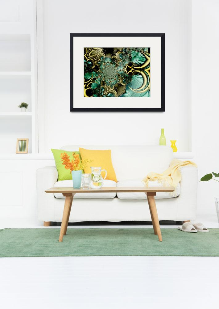 """Metal Gold Teal Glass 2&quot  (2009) by shanmaree"