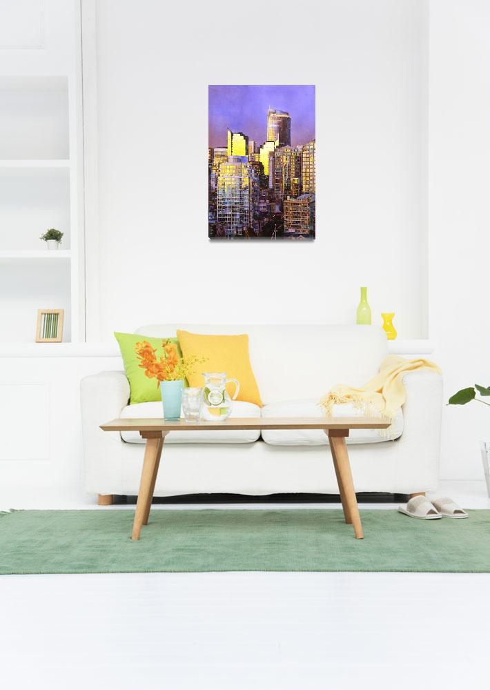 """""""Watercolor painting of skyscrapers- Vancouver, BC&quot  (2014) by RFoxWatercolors"""