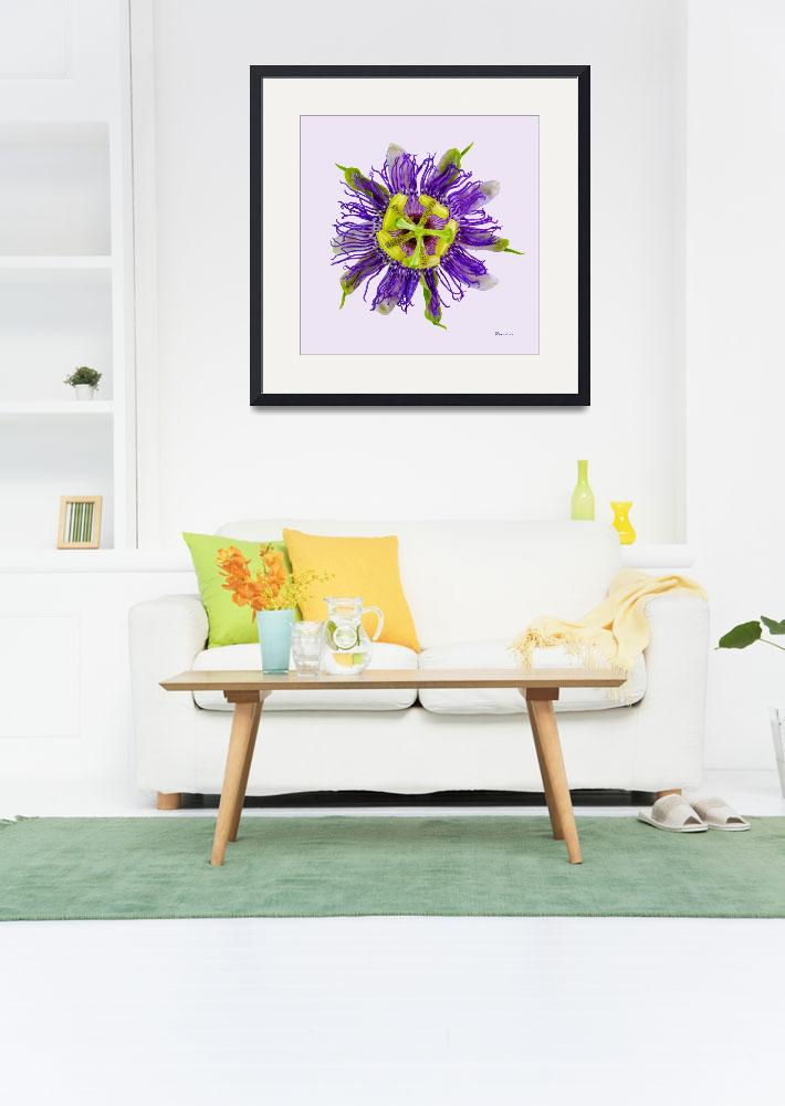 """""""Yellow Green And Violet Passion Flower 50674v&quot  (2018) by Ricardos"""