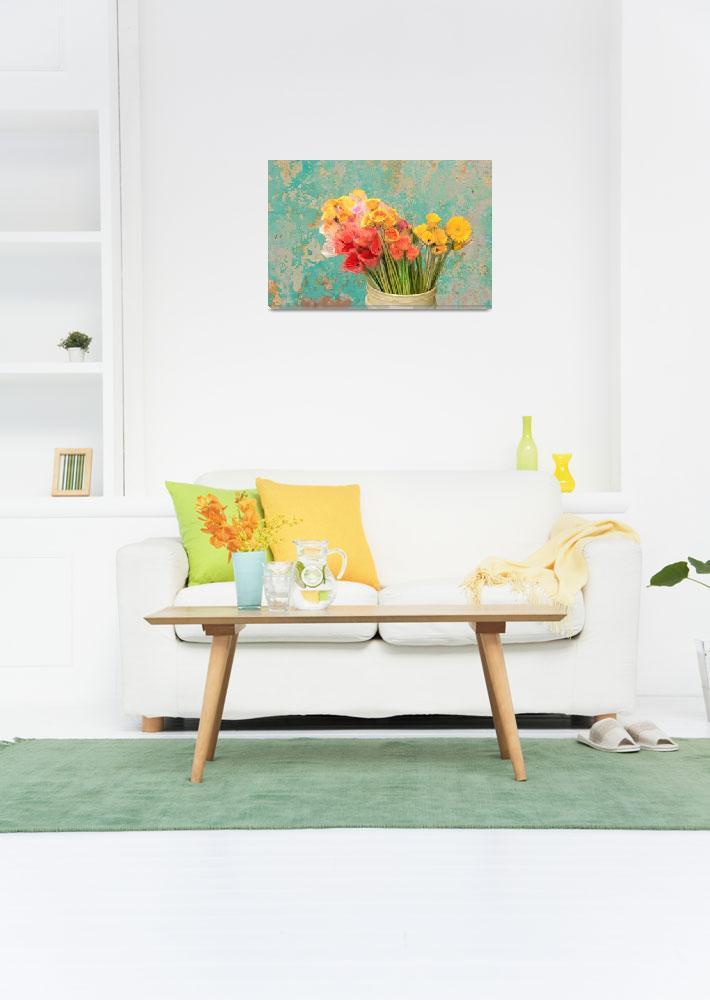 """""""Flowers in Bucket by Peeling Paint Wall""""  (2012) by charker"""