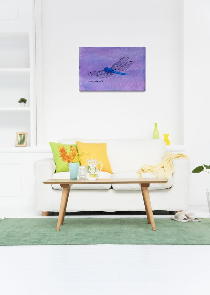 """Blue Dragonfly&quot  (2010) by PaintedPathWatercolors"