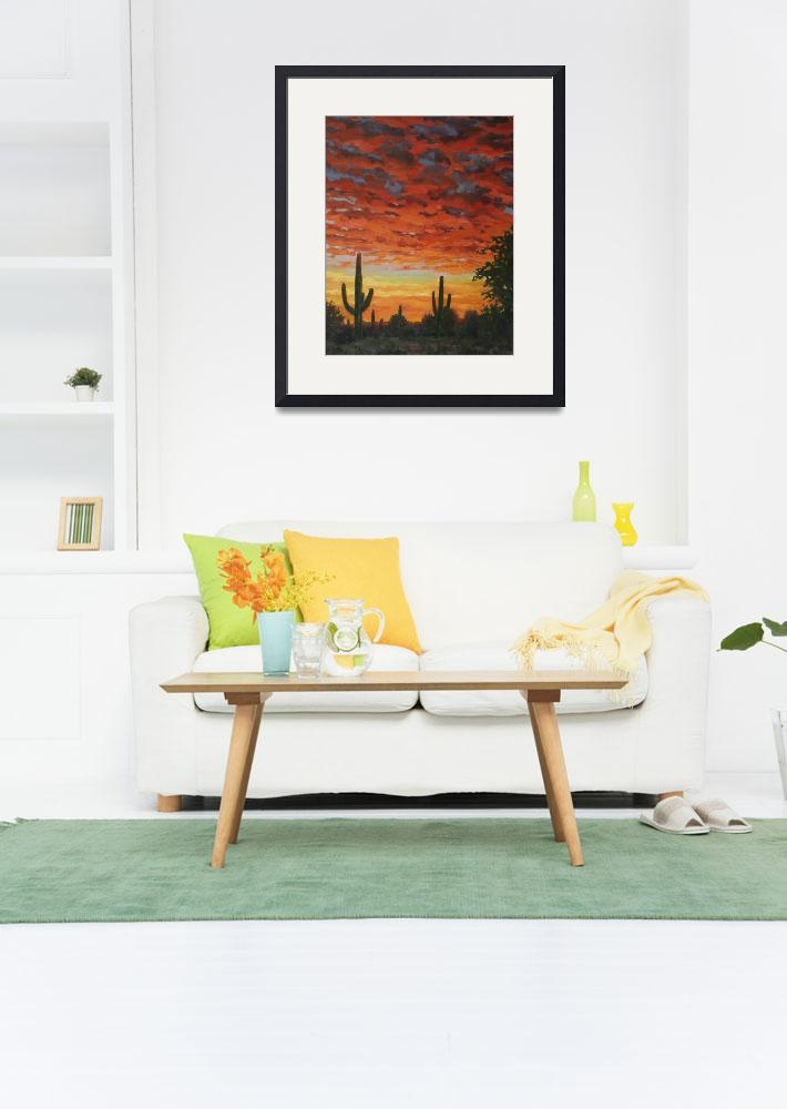 """""""Plein Air Impressionist Painting Saguaro by Sunset&quot  (2011) by kevinmccain"""