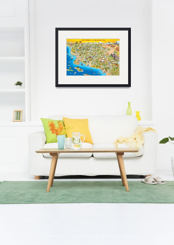 """""""Cartoon Map of So Cal for Greeting Card&quot  by caricatures"""