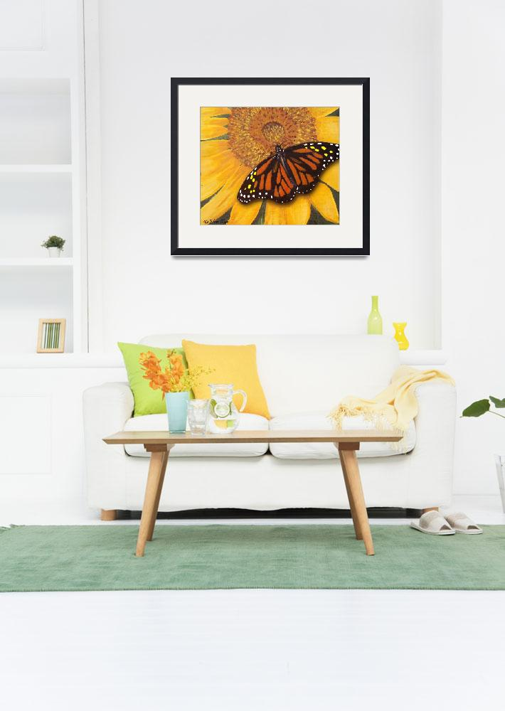 """""""Sunflower & Butterfly Painting&quot  (2009) by EMBlairArtwork"""