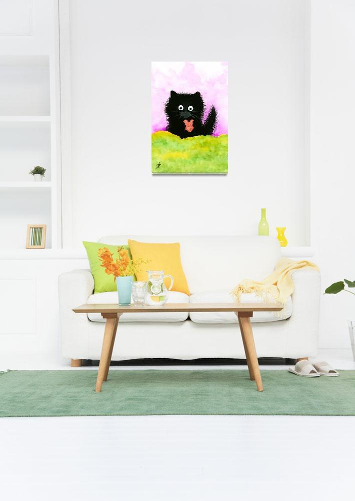 """""""Fuzzy Black Cat Heart&quot  (2015) by AmyLynBihrle"""