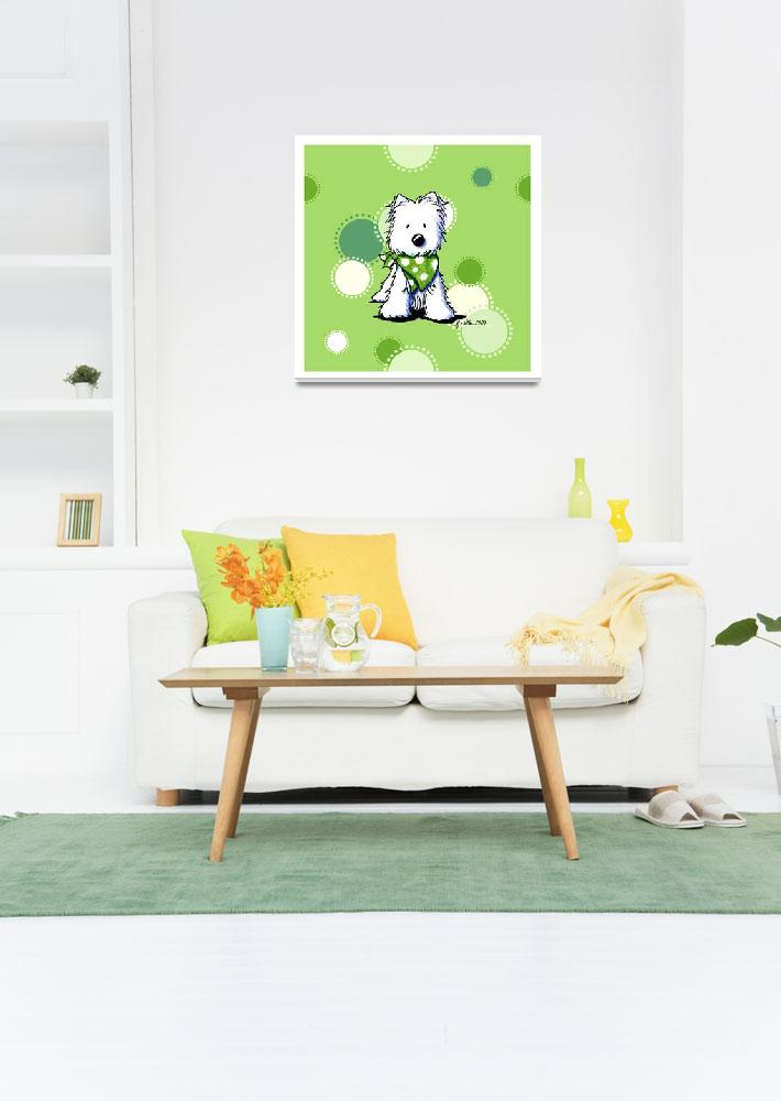 """""""Westie On Dotted Green""""  (2009) by KiniArt"""