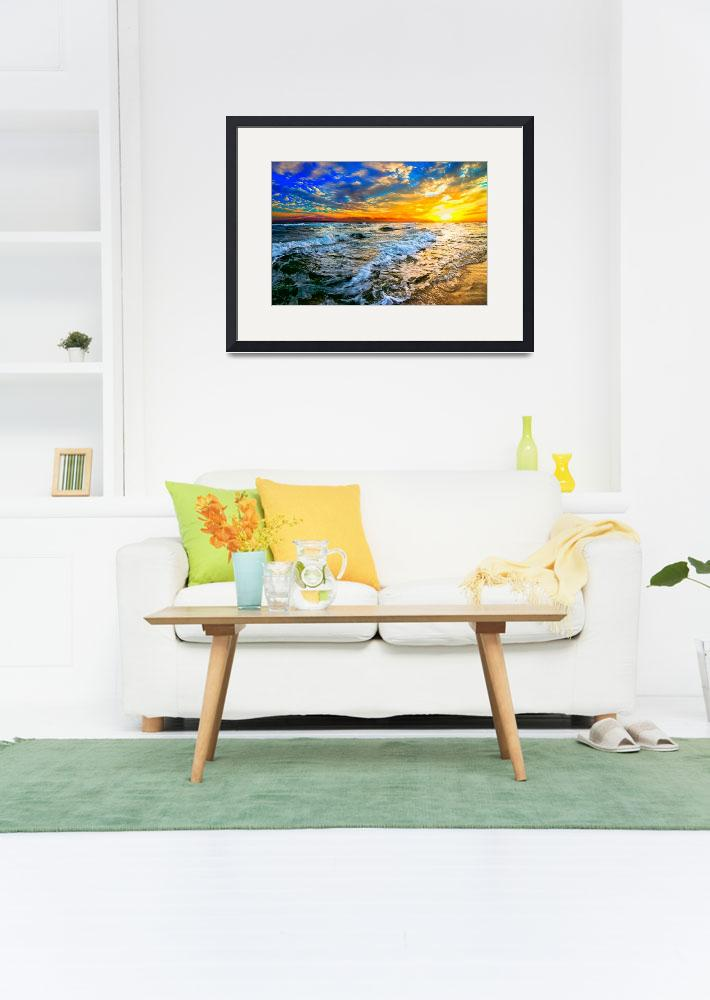 """""""yellow orange blue colorful ocean sunset prints&quot  (2014) by eszra"""