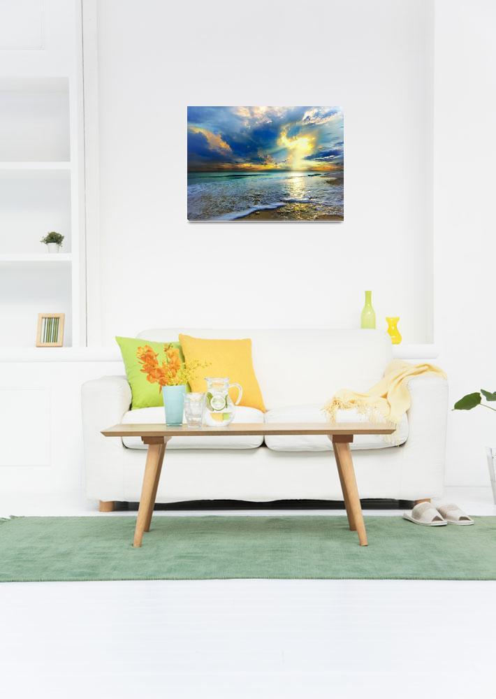 """Blue Seascape Art Print Gold Sunrays Sunset""  (2012) by eszra"