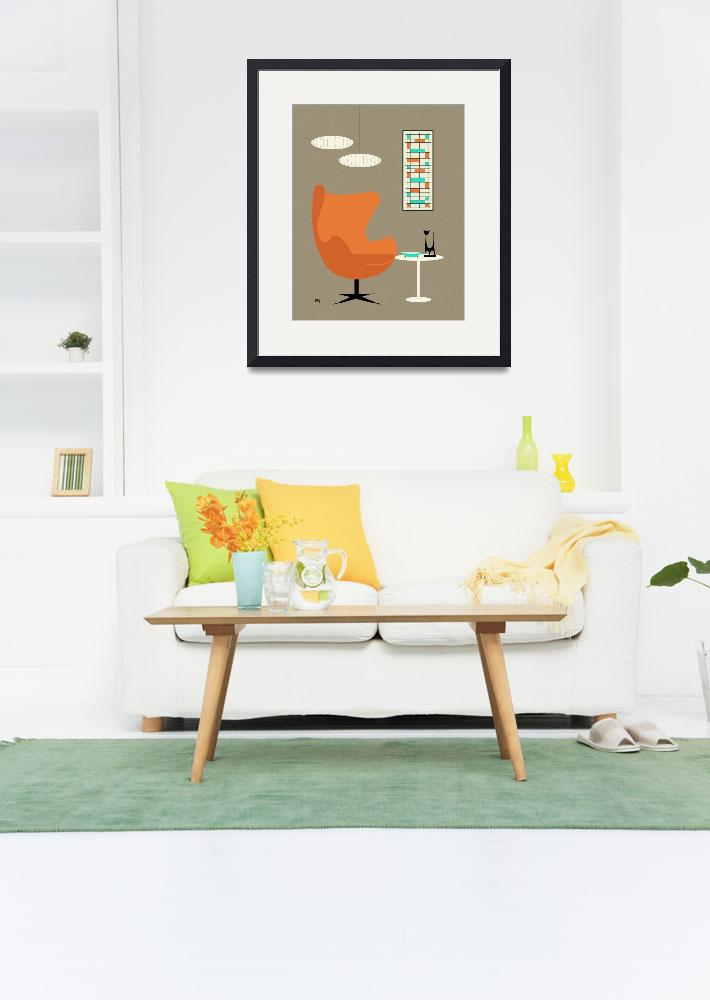 """Orange Egg Chair with Mini Abstract No Cat&quot  by DMibus"