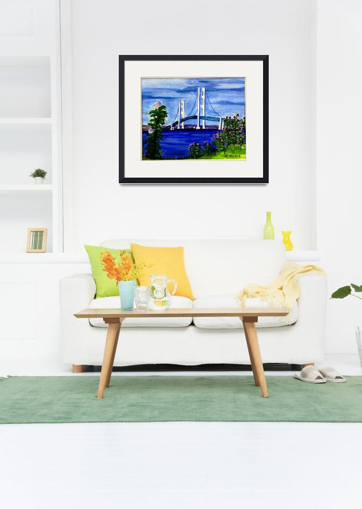 """Mackinac Bridge in Spring&quot  (2015) by MarcyMurdick"