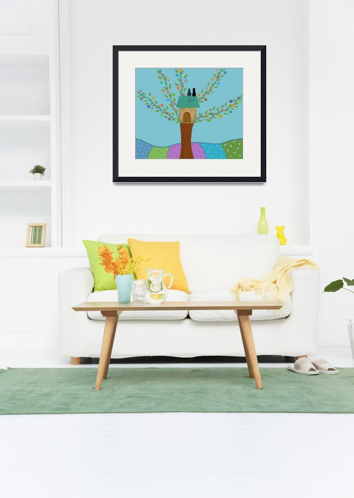 """""""Cute tree and cats&quot  (2016) by CristinaBianco"""