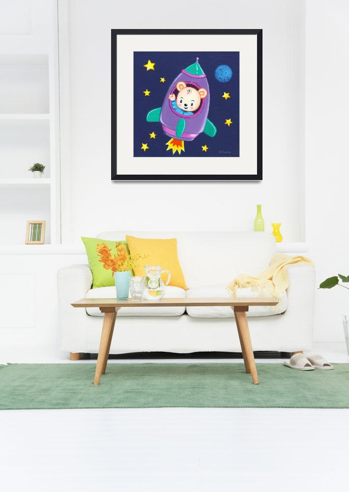 """Kids room art with Space Bear in a rocket&quot  by nopiepan"
