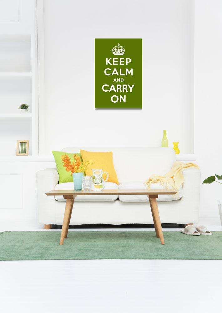 """Green Keep Calm And Carry On 3&quot  by oldies"
