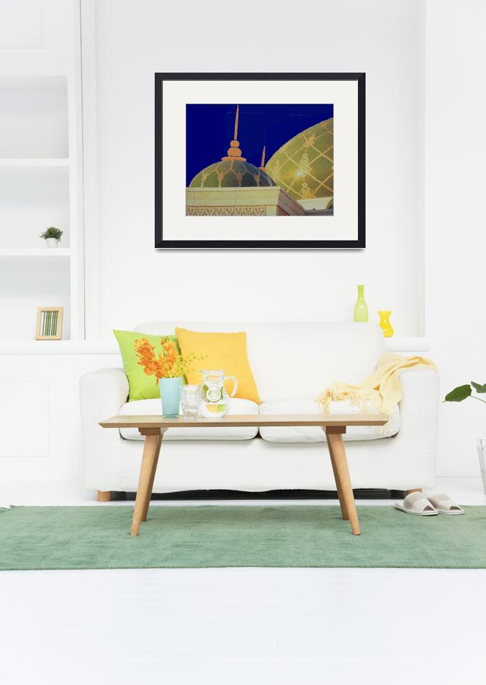 """""""Sultan Qaboos Grand Mosque in Muscat Oman_Painting""""  by Lonvig"""