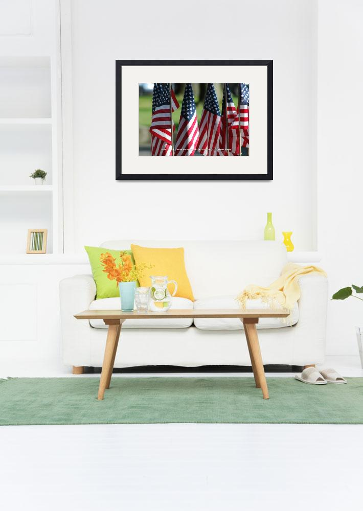 """""""USA5 Flag Row Michelle O Strong Quote White Ink bo&quot  by Obama_University"""