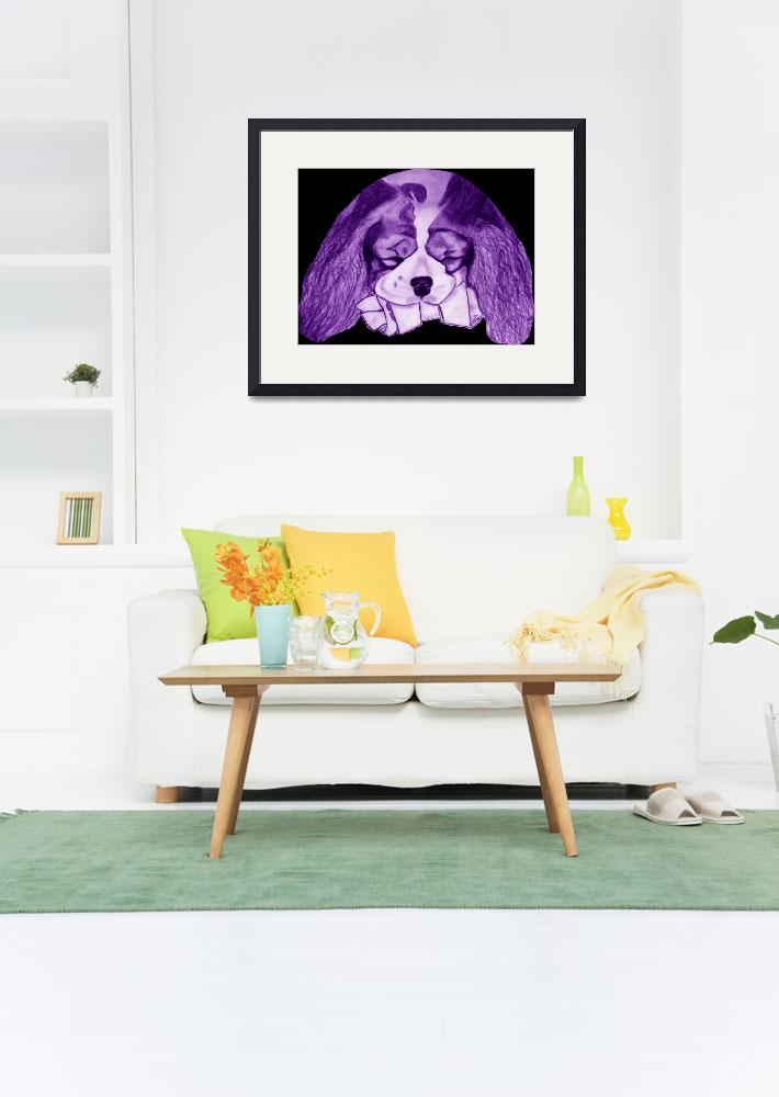 """Cavalier King Charles Spaniel With Bone Purple&quot  (2009) by CavalierArt"