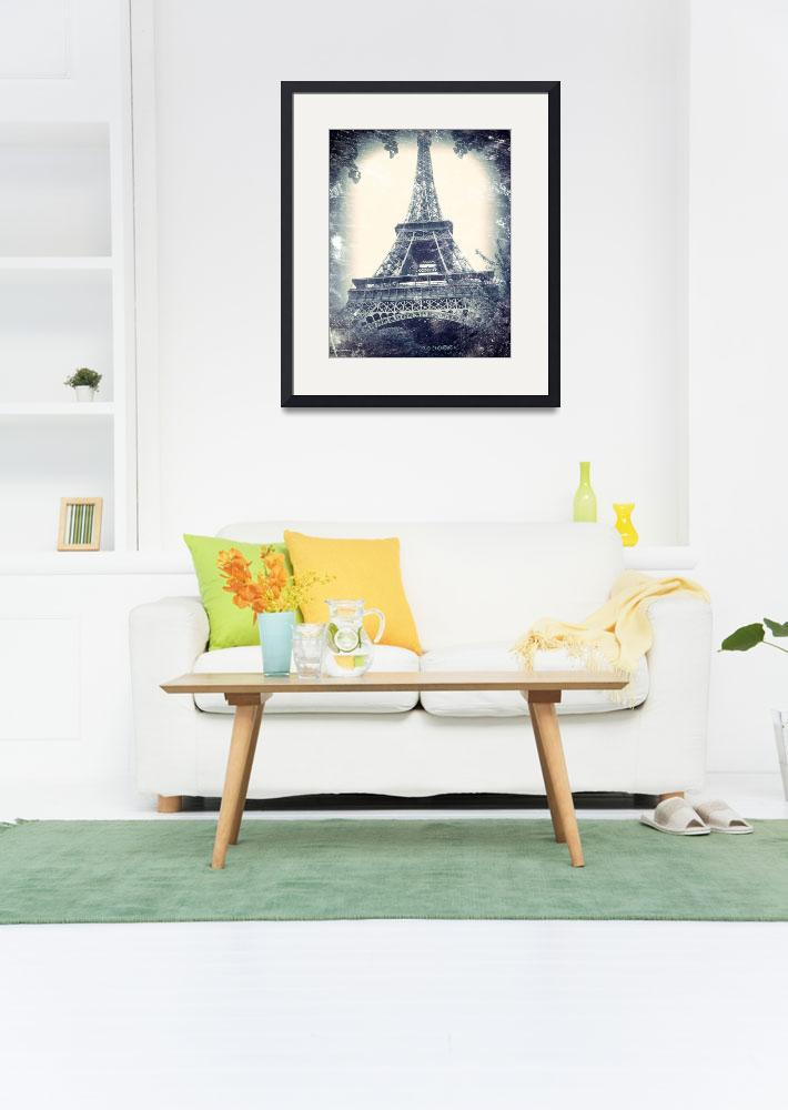 """""""Eiffel Tower, aged, distressed image.&quot  by Linde"""