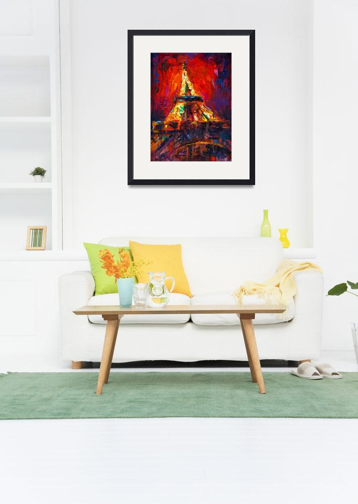"""Abstract eiffel tower paris at night painting&quot  by SvetlanaNovikova"