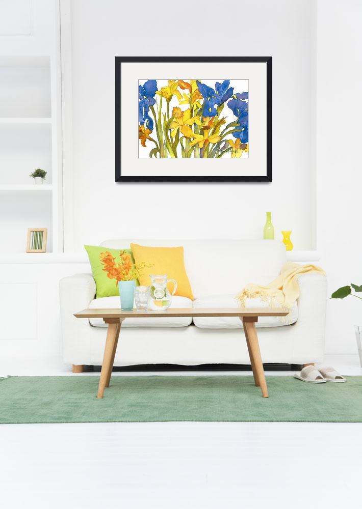"""Daffodils and Iris""  (2005) by janporterfieldwatercolors"