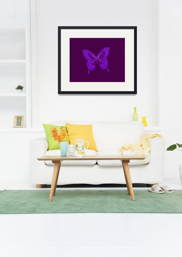 """""""Glowing Blue Violet Butterfly on Violet Background&quot  (2013) by TheNorthernTerritory"""