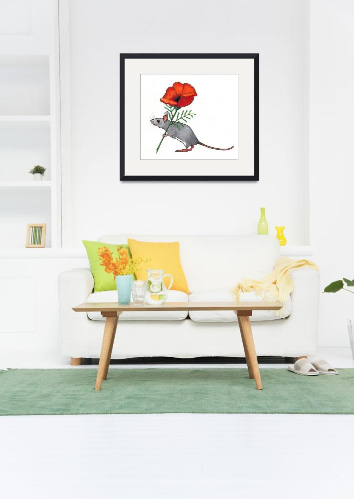 """Mouse Carrying Flower&quot  (2011) by joyart"
