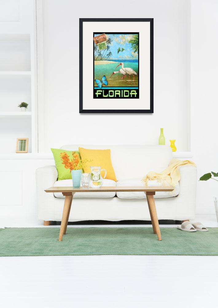 """vintage florida travel poster with ibis&quot  (2017) by rchristophervest"