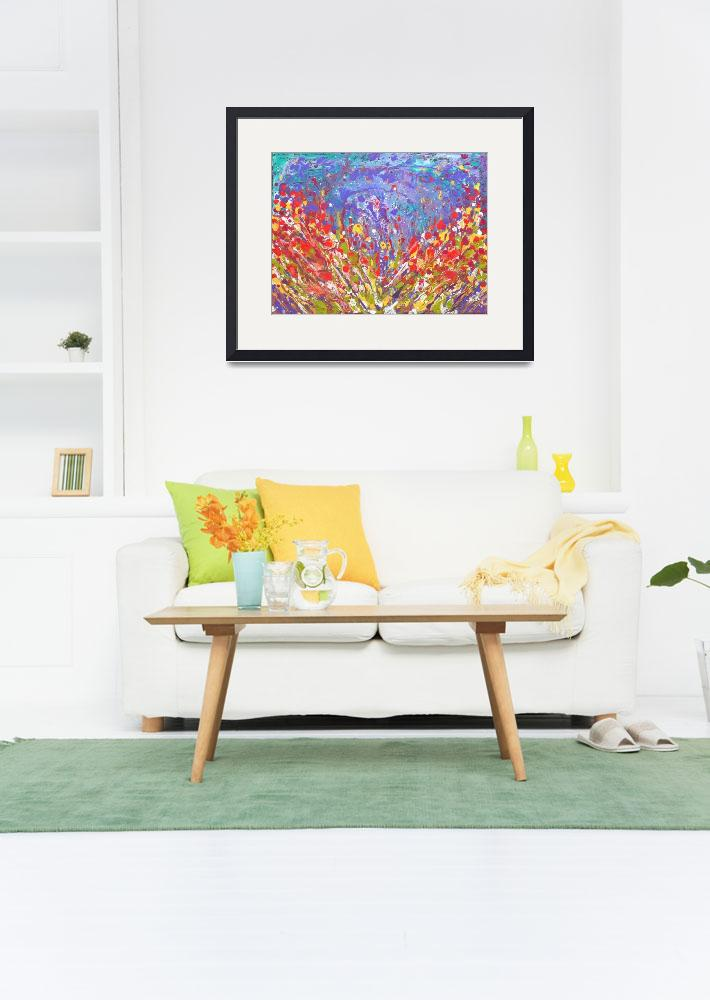 """""""Poppies Abstract Meadow colorful painting on canva&quot  (2017) by mkanvinde"""