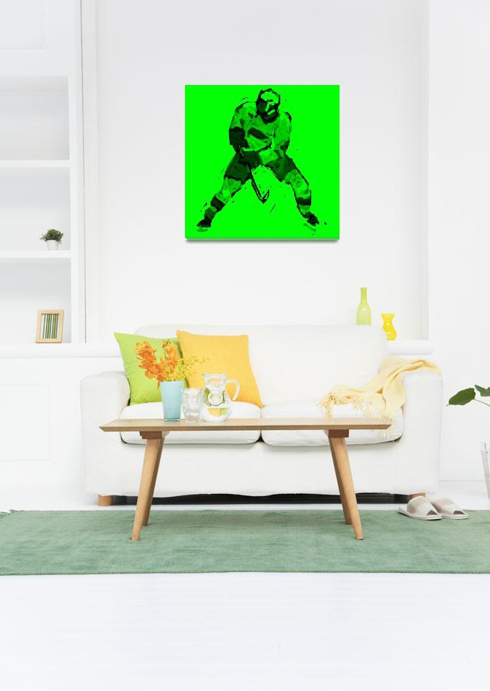 """Hockey Defenseman green (c)""  (2014) by edmarion"