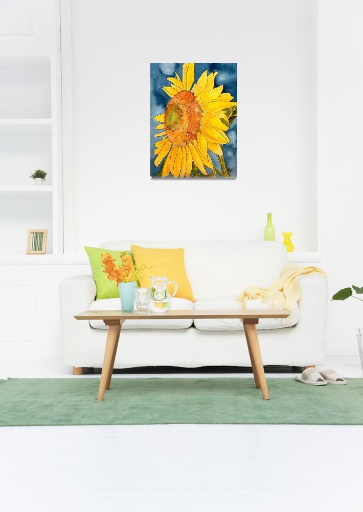 """sunflower macro flower watercolor painting print""  (2008) by derekmccrea"