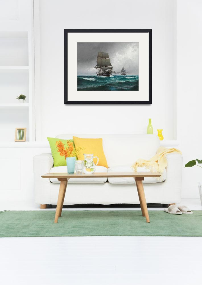 """Vintage Sailing in Rough Waters Painting (1876)&quot  by Alleycatshirts"