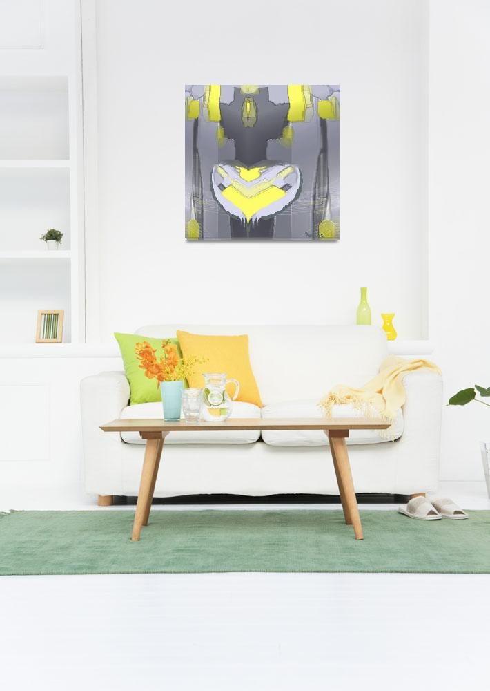 """yellow grey 2""  (2016) by ruckerart"