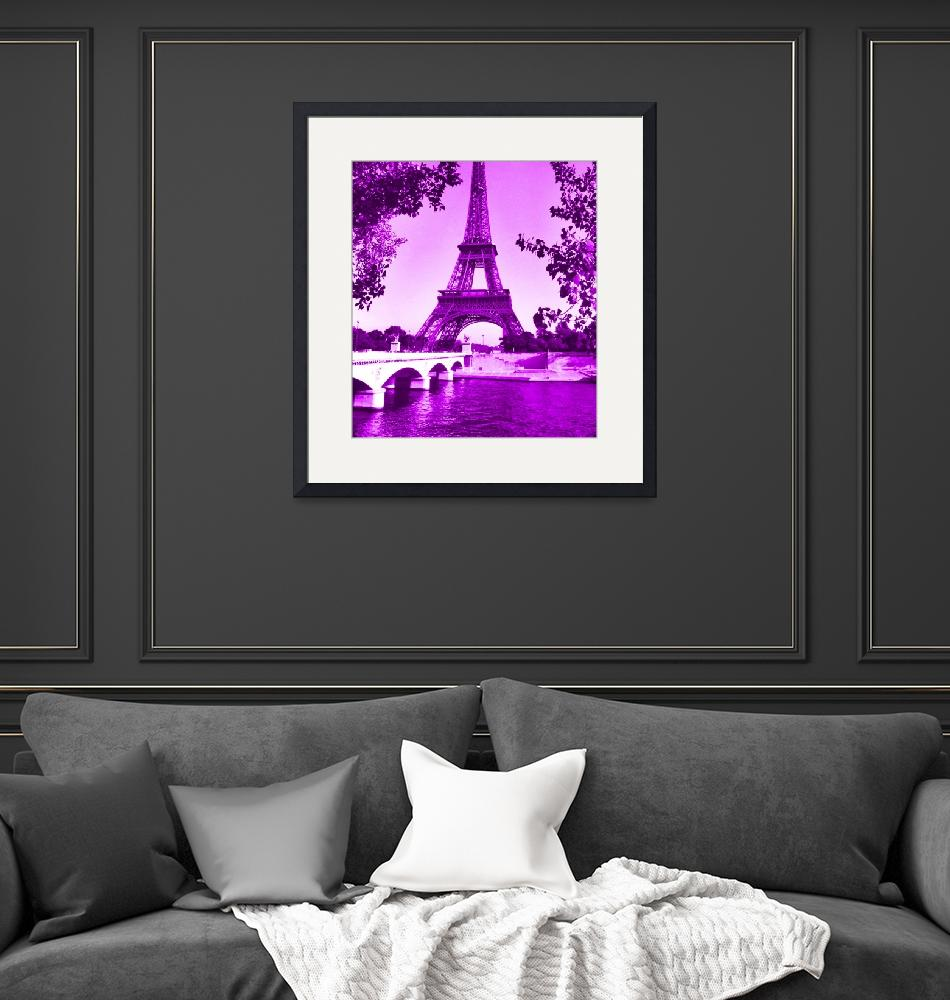 """Eiffel Tower Seine River Violet cropped""  (2013) by TheNorthernTerritory"