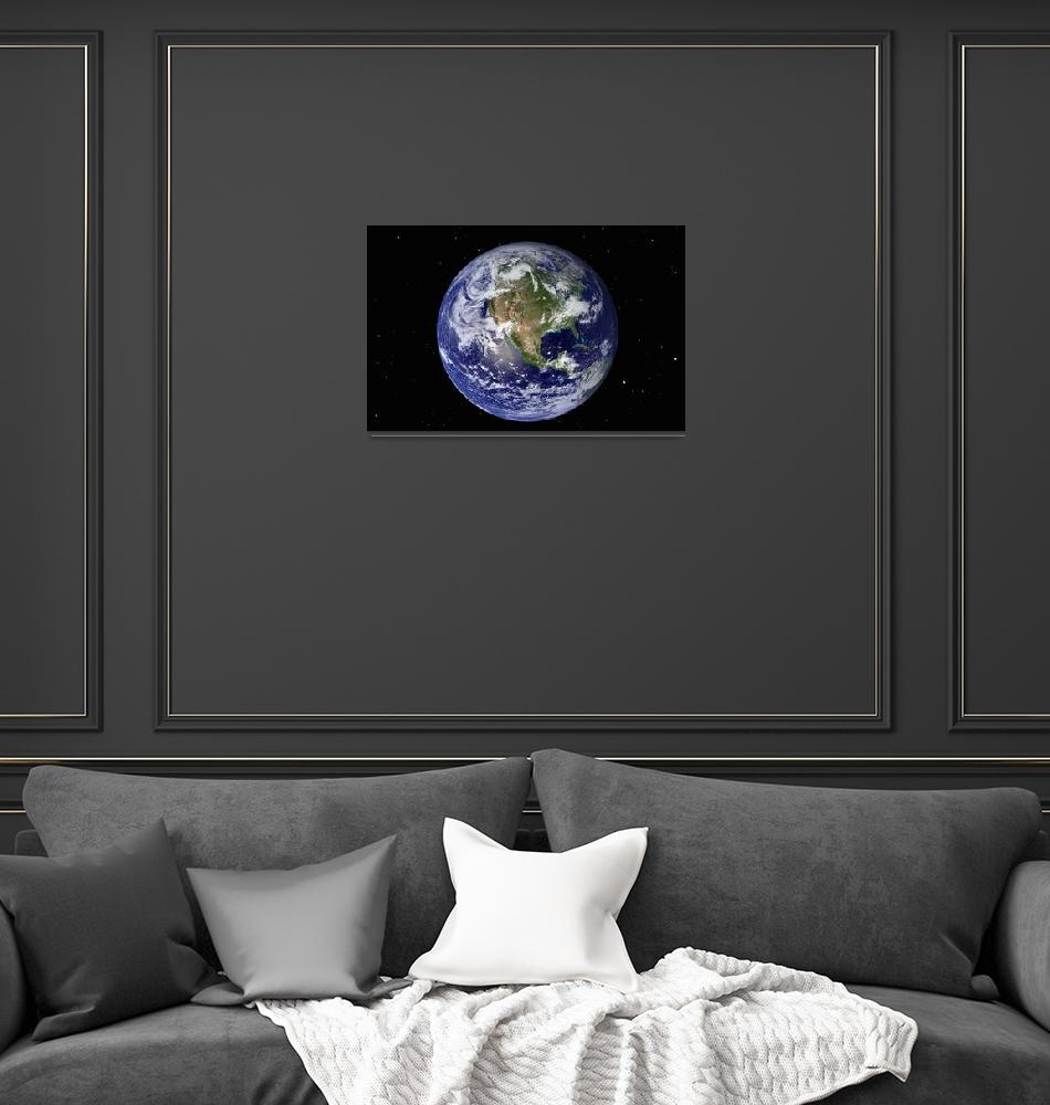 """Full Earth showing North America (with stars).""  by stocktrekimages"
