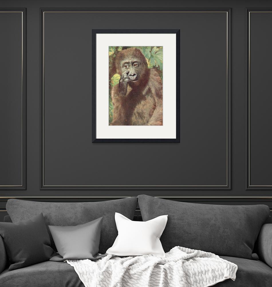 """""""Gorilla, deep in thought""""  (1920) by birthdaygifts"""