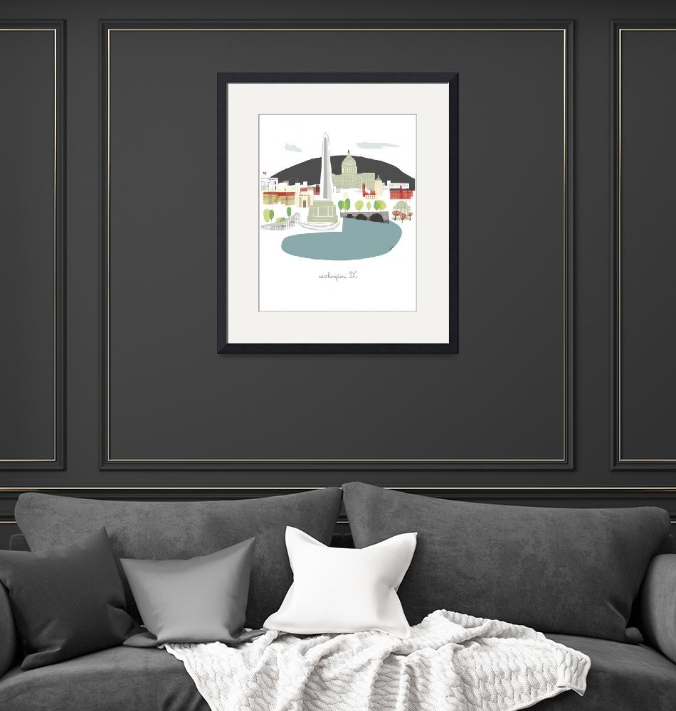 """""""Washington DC Modern Cityscape Illustration""""  by AlbieDesigns"""
